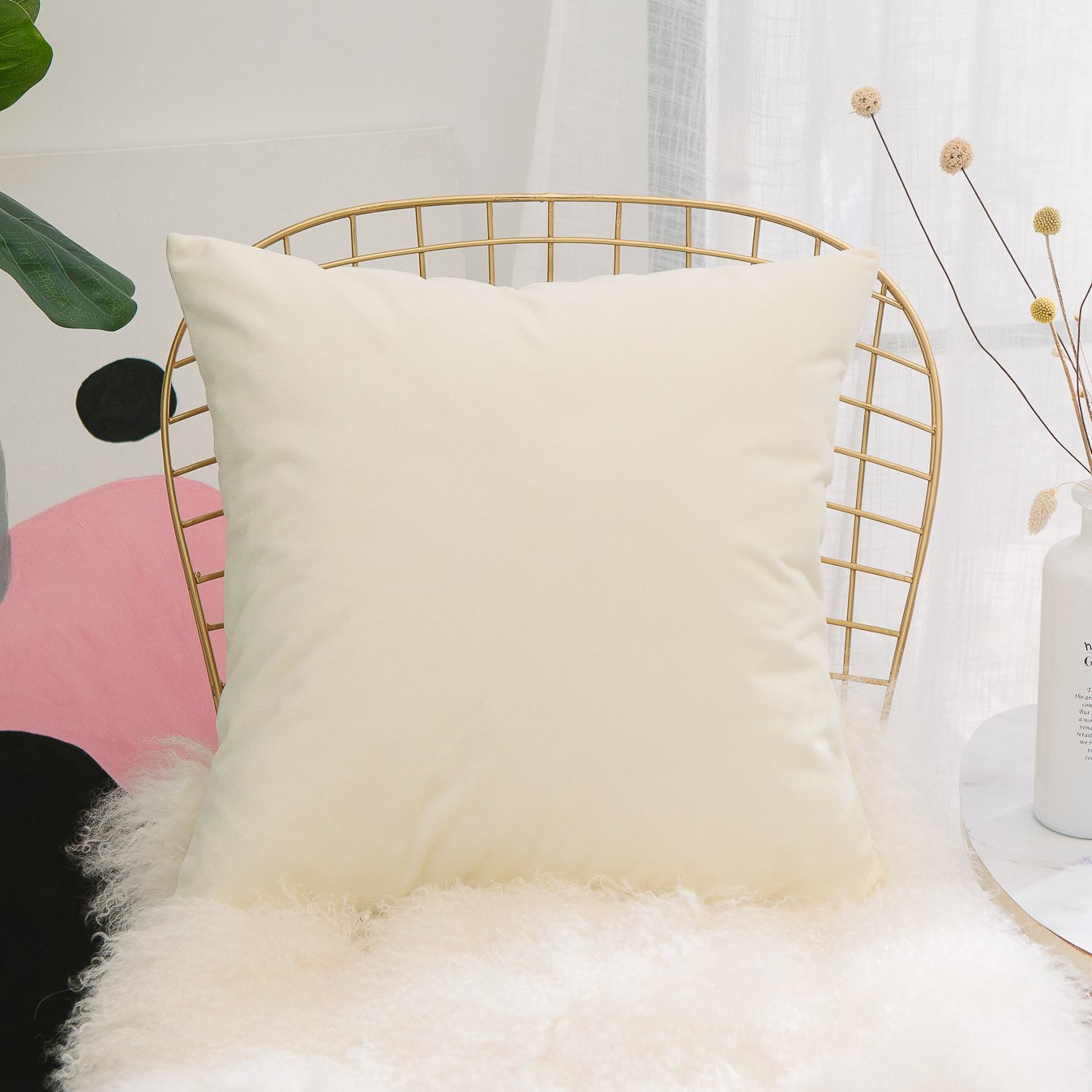 HOME BRILLIANT Ultra Soft elvet Solid Throw Pillow Case Large Cushion Cover Decorative for Nursery/Babies/Girl/Boy, 60 x 60cm, Cream Yellow
