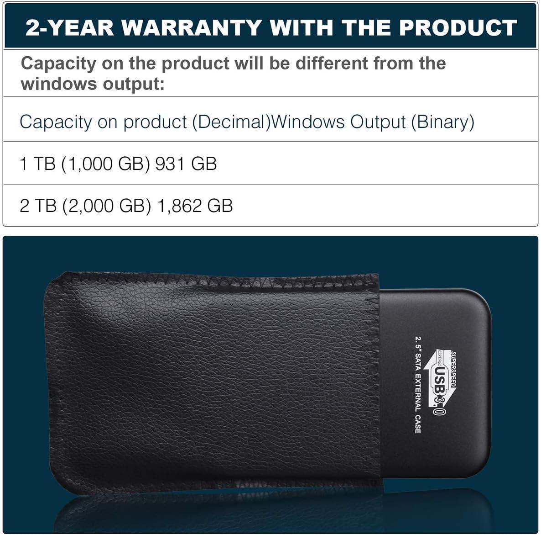 actualizaci/ón de disco duro port/átil USB 3.0 Chromebook port/átil compatible con PC Mac Disco duro externo port/átil de 2 TB Smart TV plata