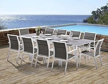 Salon de jardin Modulo 1 table + 10 fauteuils (Blanc/Gris perle ...