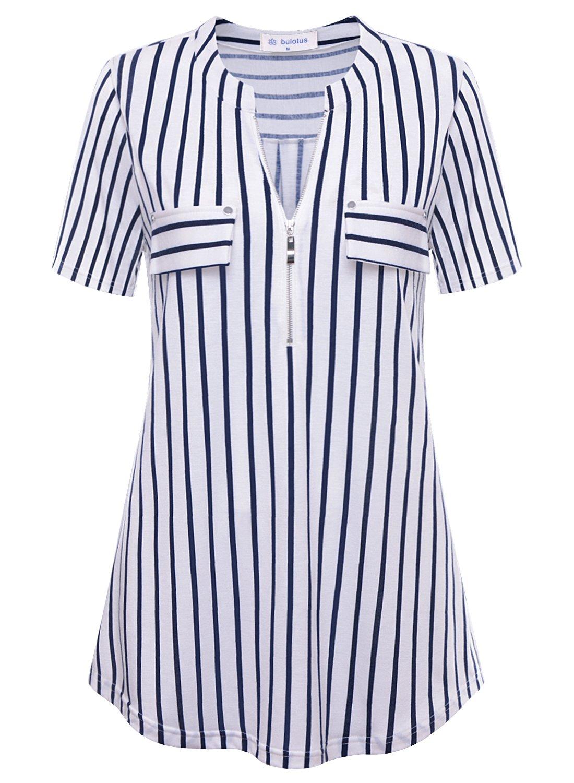 Bulotus White Blouses for Women Ladies Zip V-Neck Short Sleeve Relaxed fit Tshirt for Women White L