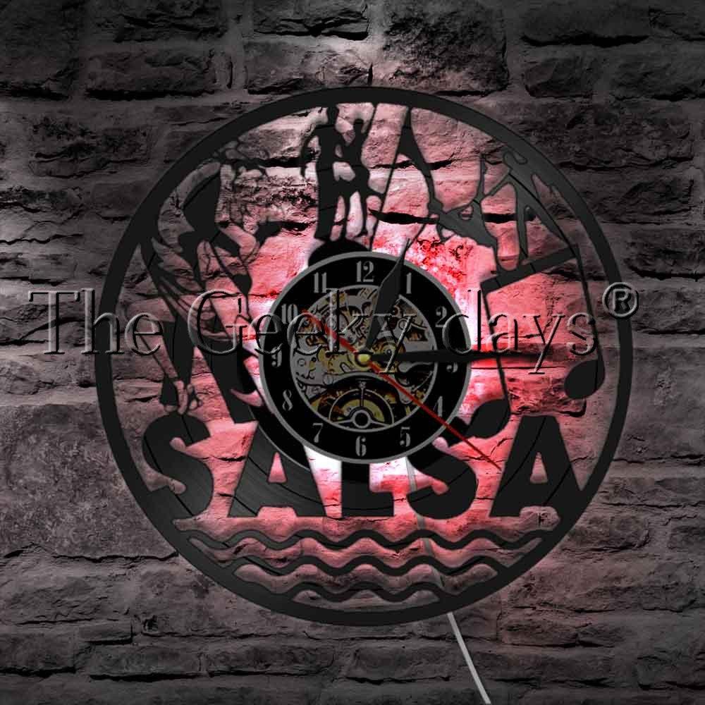 The Geeky Days Latin Dance Salsa Dance Wall Art Wall Clock Dancing Couple Vinyl Record Wall Clock Latin Ballroom Dance Studio Clock Dancer Gift (With Led)