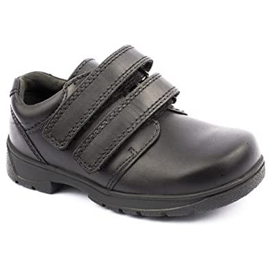 NEW START-RITE ROTATE VELCRO BOYS SCHOOL SHOES VARIOUS SIZES BLACK LEATHER