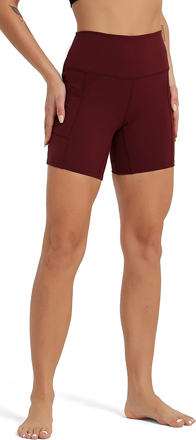 Rataves Womens 6 Inch Athletic Yoga Shorts with Pockets Tummy Control High Waisted Shorts