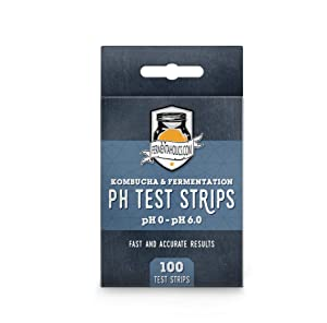 Kombucha pH Test Strips - pH Range 0-6 | 100 Test Sticks | Instant Read | Food Service, Brewing and Fermentation Test Strips