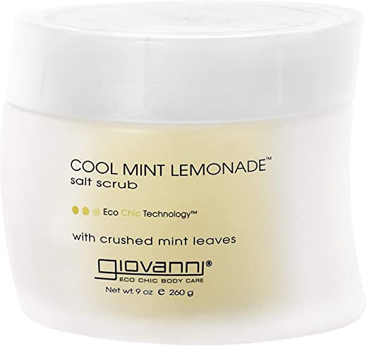 Giovanni Cool Mint Lemonade Salt Scrub - Gentle Body Exfoliant With Essential Oils, Peppermint & Lemonade, 9 oz (Pack of 1)