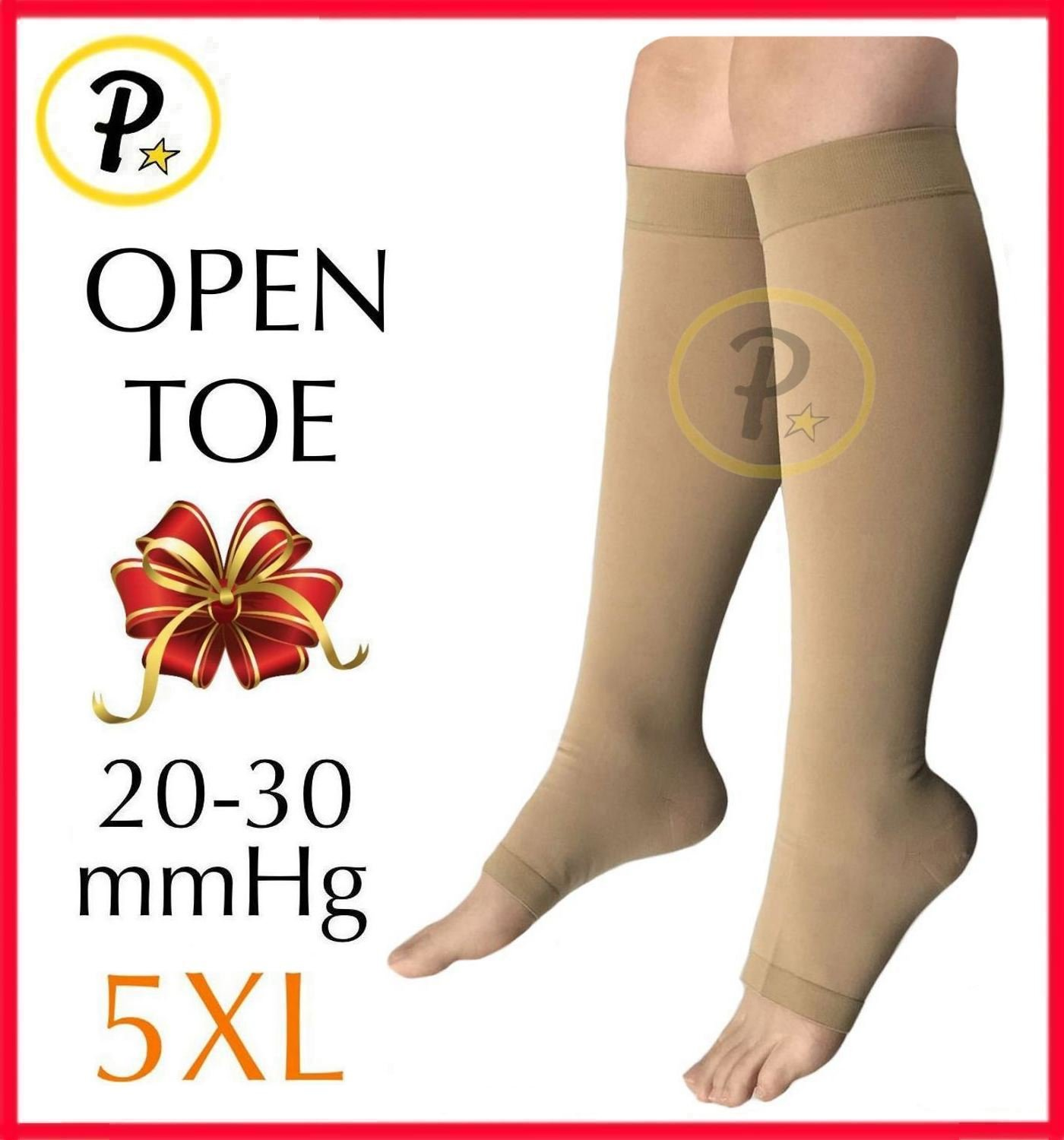 Presadee (BIG & TALL SUPER SIZE) Traditional Open Toe 20-30 mmHg Graduated Medical Compression Ankle Leg Calf Swelling Relief Support Sock (Beige, 5XL)
