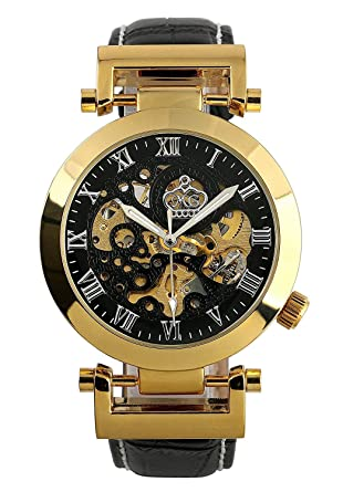 Carrie Hughes Mens Luxury Gold Automatic Mechanical Watch Stainless Steel Leather Strap CH270 (CH270GB)