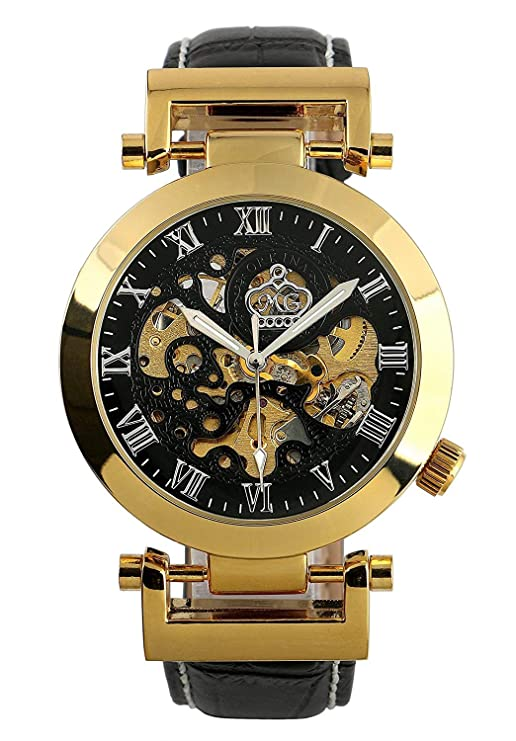 Amazon.com: Carrie Hughes Mens Luxury Gold Automatic Mechanical Watch Stainless Steel Leather Strap CH270 (CH270GB): Carrie Hughes: Watches