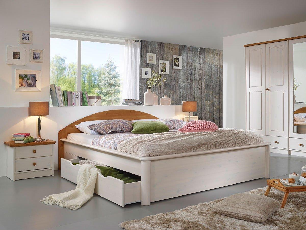 Erstaunlich Doppelbett Weiß 180x200 Sammlung Von Sky Massivholzbett Kiefer Weiss/ Eichefarbig Gebeizt Lackiert,