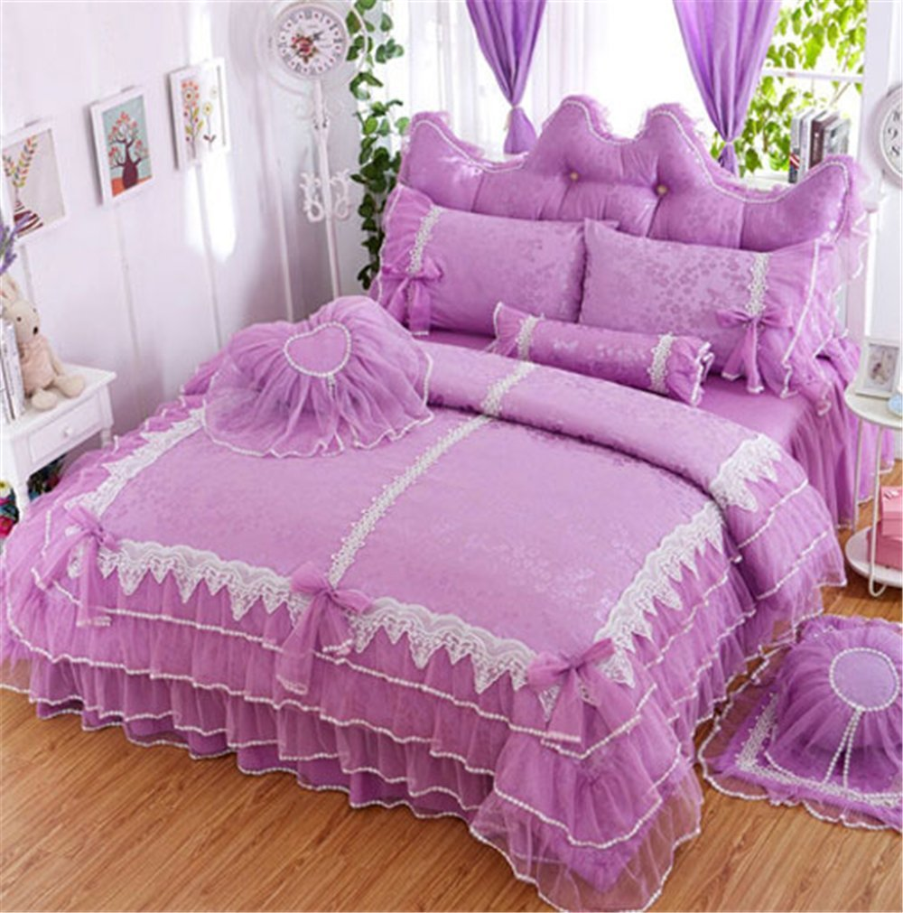 Lotus Karen Luxury Jacquard Lace Ruffles Korean Princess Girls Purple Bed Sheet Set 100%Cotton 4PC Wedding Bedding,1Duvet Cover,1Bedskirt,2Pillowcases King Queen Full Twin Size by Lotus Karen