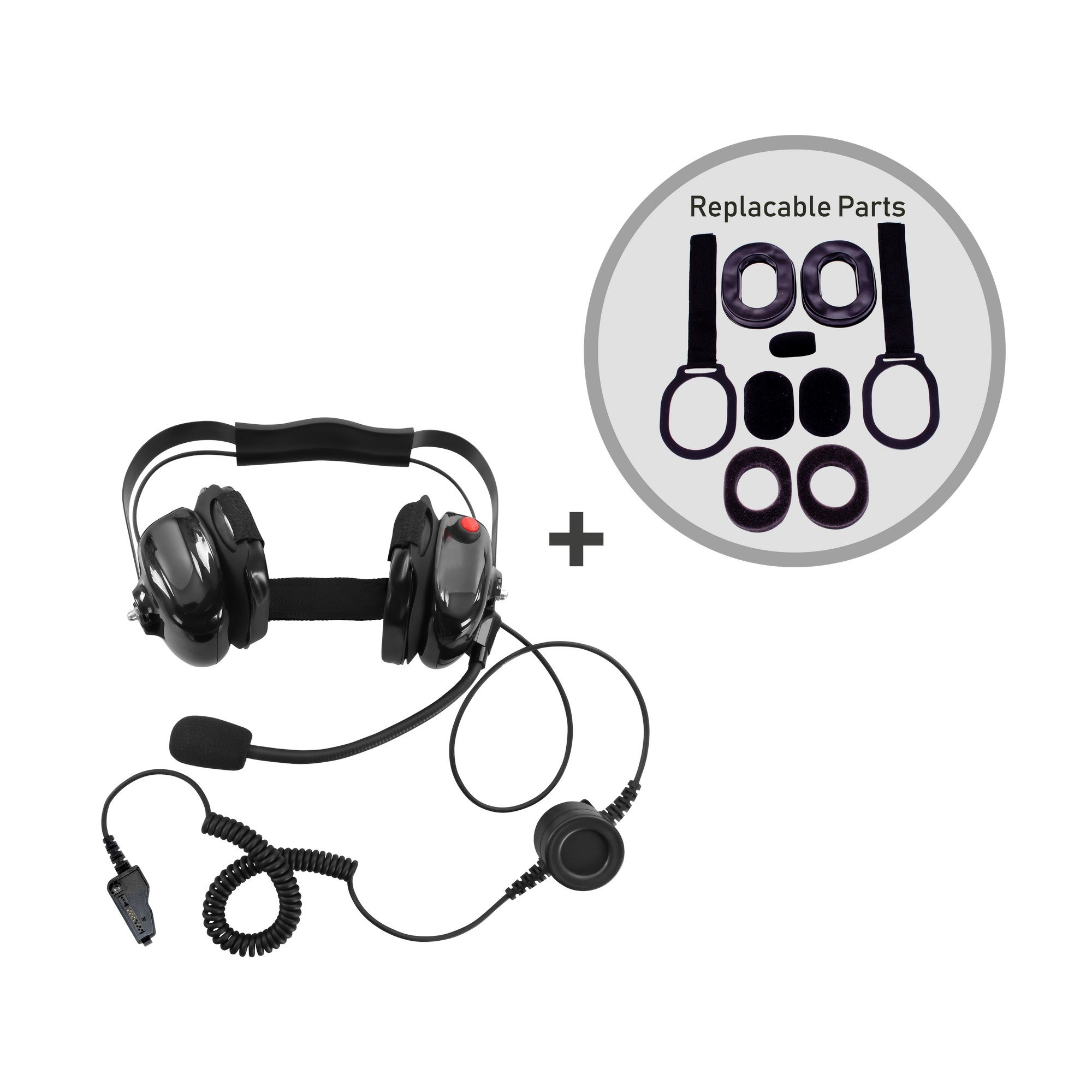 Bommeow BHDH50SP1-BK-K3 Noise Isolation Headset for Kenwood Radio NEXEDGE in Black With Service Part Replacement