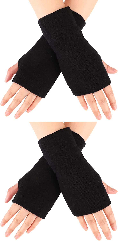 2PairsFingerlessGlovesStretchyKnittedGloves ThumbHole MittensWristLengthArmWarmers (Black, Black)