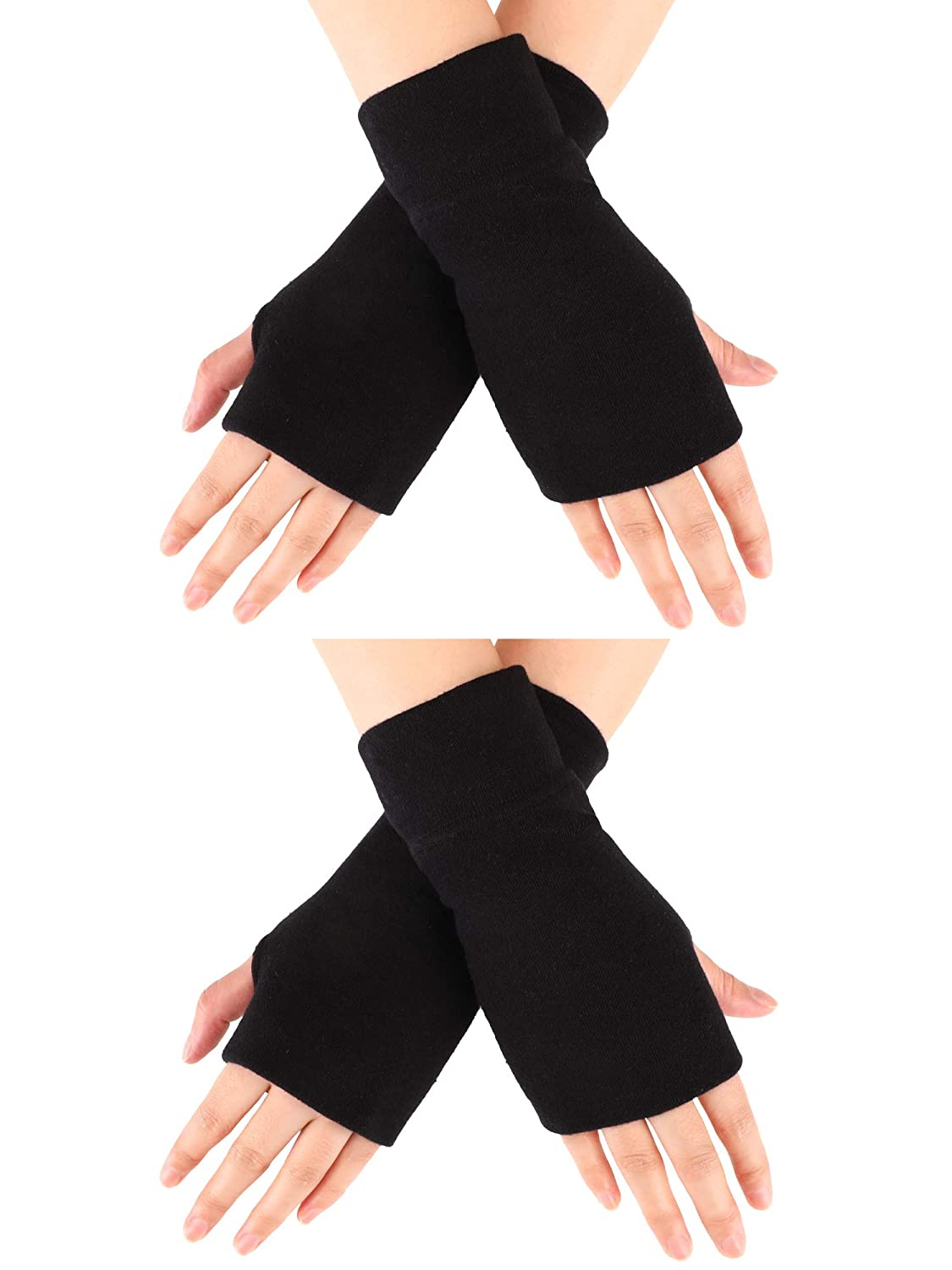 Blulu 2 Pairs Unisex Fingerless Gloves Stretchy Knitted Gloves Fingerless Thumb Hole Gloves Wrist Length Driving Arm Warmers