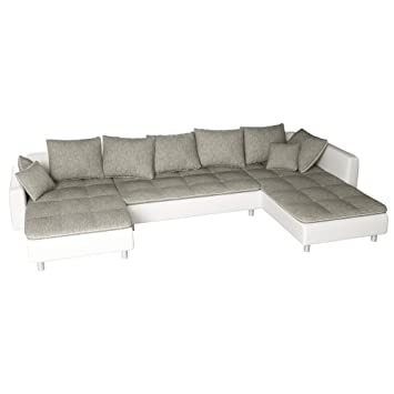 Sofa Polsterecke Vivara Weiss Strukturstoff Grau Ecksofa Von