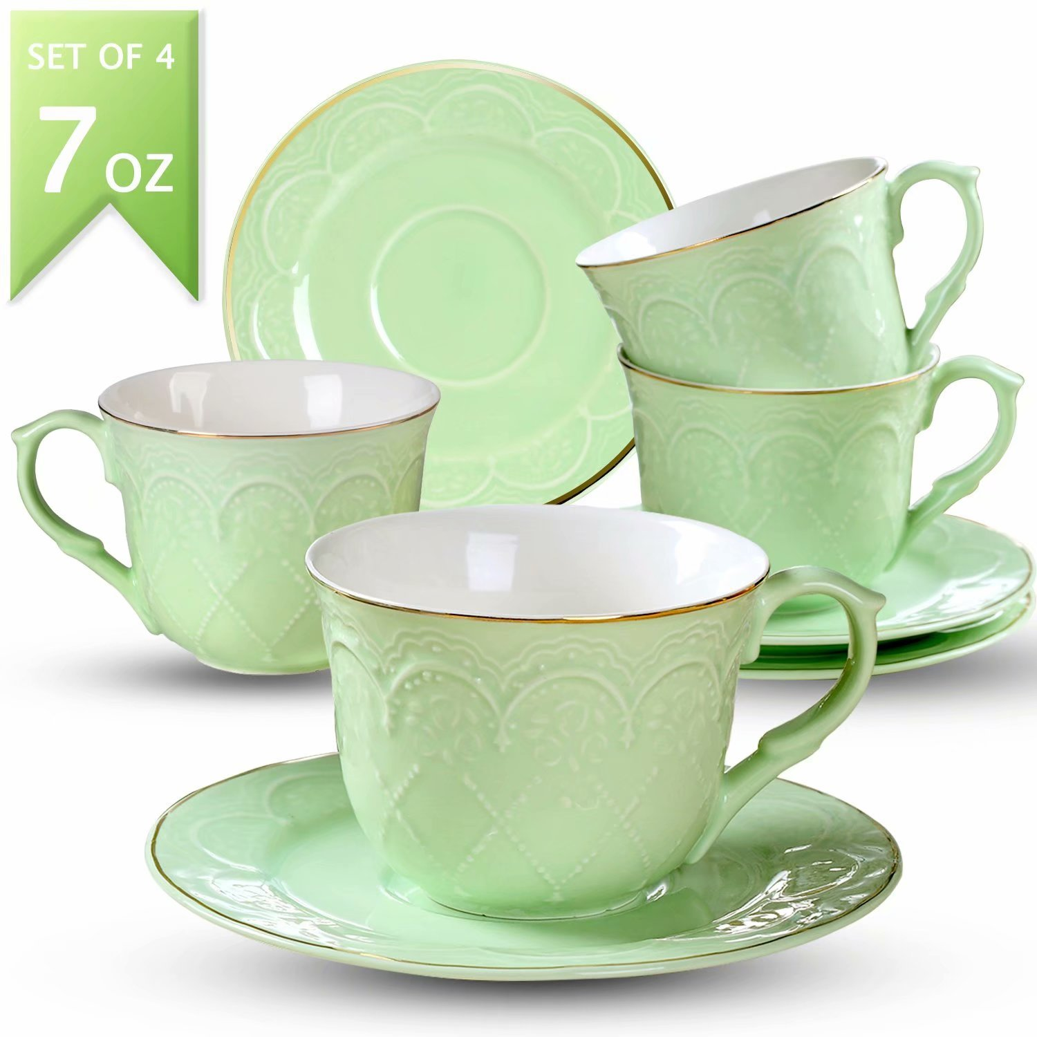 Guangyang Coffee Cups Saucers Set of 4-7OZ New Bone China Embossed Floral Gold Edge Coffee Mugs Set Mocha Latte Cappuccino Macchiato,Green