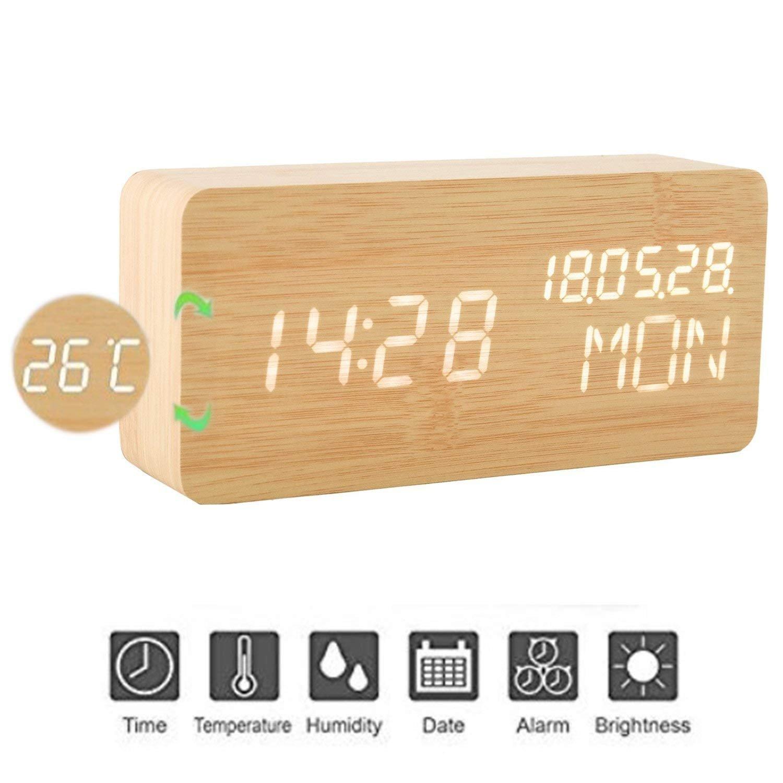 wivarra Réveil en Bois Numérique Réveil LED en Bois Horloge Numérique Activation 3 Niveaux Luminosité 3 Alarmes Afficher Heure Date Semaine Température Alimenté par USB ou Batterie