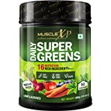 MuscleXP Daily SuperGreens with 16 Nutrition Rich SuperFoods, Unflavored, 400g (14 oz) - 50 Servings (Sugar Free) - Spirulina, Moringa, Alfalfa, Spinach, Chlorella, Beetroot, Carrot, Blueberry, Flaxseed, Green Tea and 16 Plant Ingredients