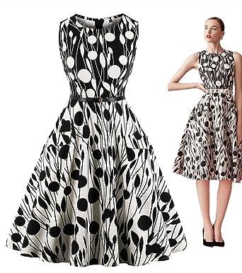 Everbeauty Womens Vintage 1950s Floral Print Dresses Plus Size