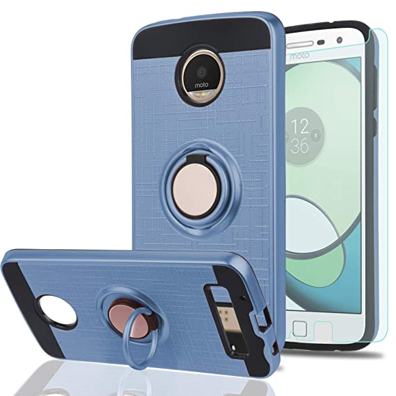 reputable site 25a69 68275 Moto Z Play/Moto Z Play Droid Case with HD Phone Screen Protector,Ymhxcy  360 Degree Rotating Ring & Bracket Dual Layer Resistant Back Cover for ...