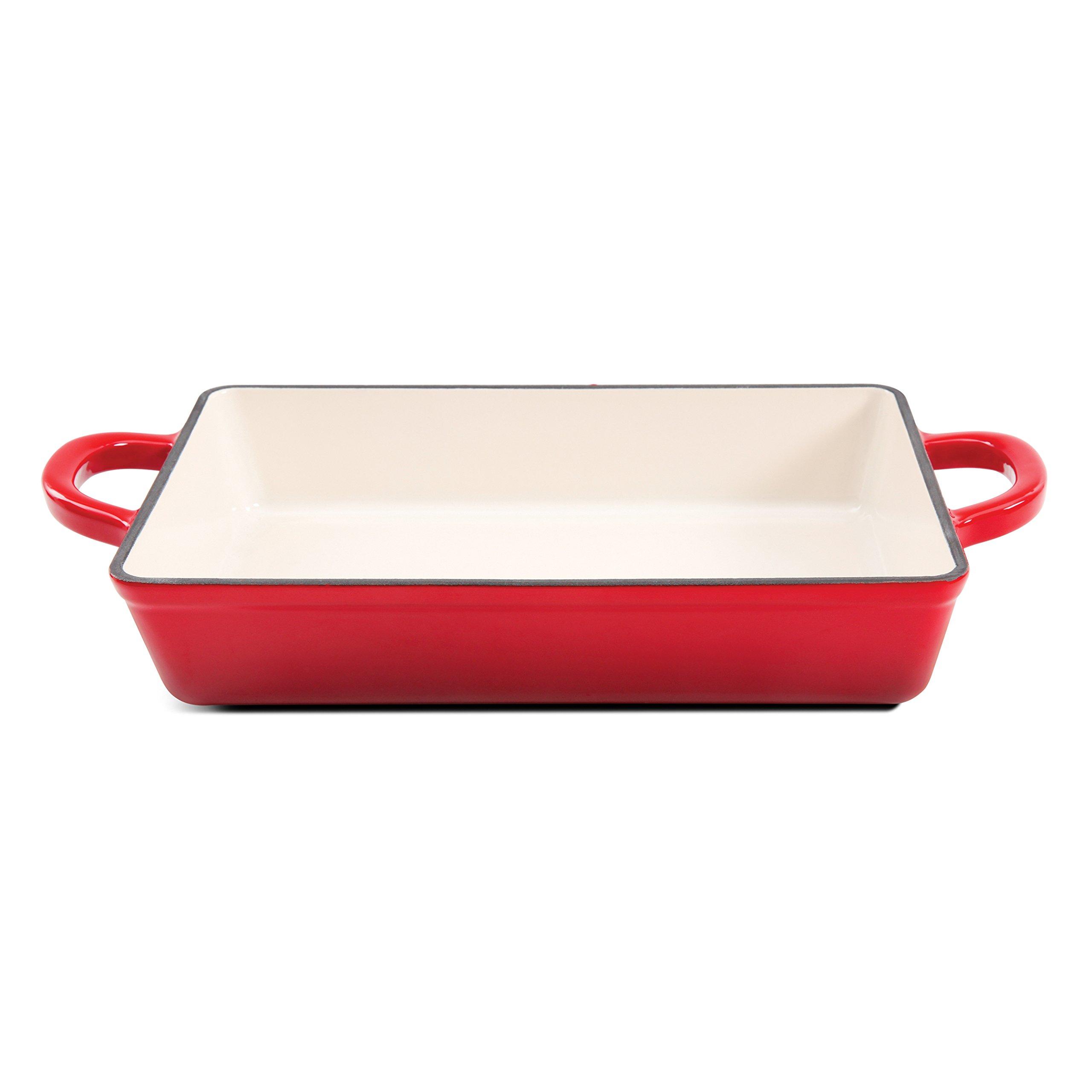 Crock Pot Artisan 13in Enameled Cast Iron Lasagna Pan, Red by Crock-Pot