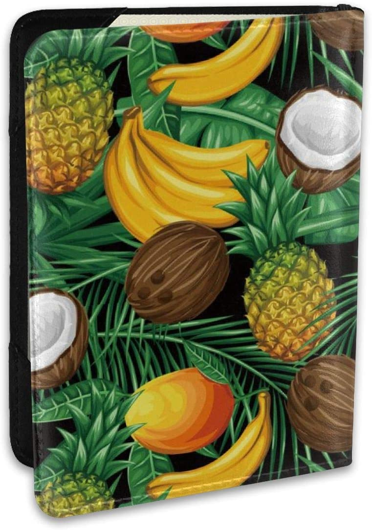 Biahos Leather Passport Cover Fresh Pineapple Coconut Banana Wallet For Passport Case