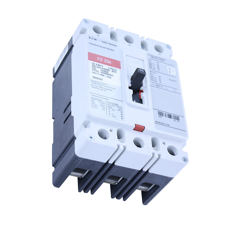 Eaton Cutler-Hammer FD3050 6639C82G91 3 POLE 50 AMP 600V Circuit Breaker