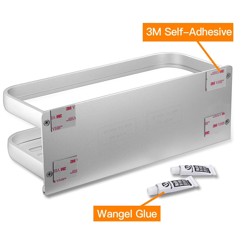 Autoadesivo Finitura Opaca Colla Brevettata Wangel Profondo Mensola per Doccia Bagno con 5 Ganci Alluminio