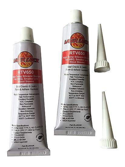 2 unidades lavalock Hi Temp 650 RTV Sellador de barbacoa fumador grado adhesivo rojo apto para