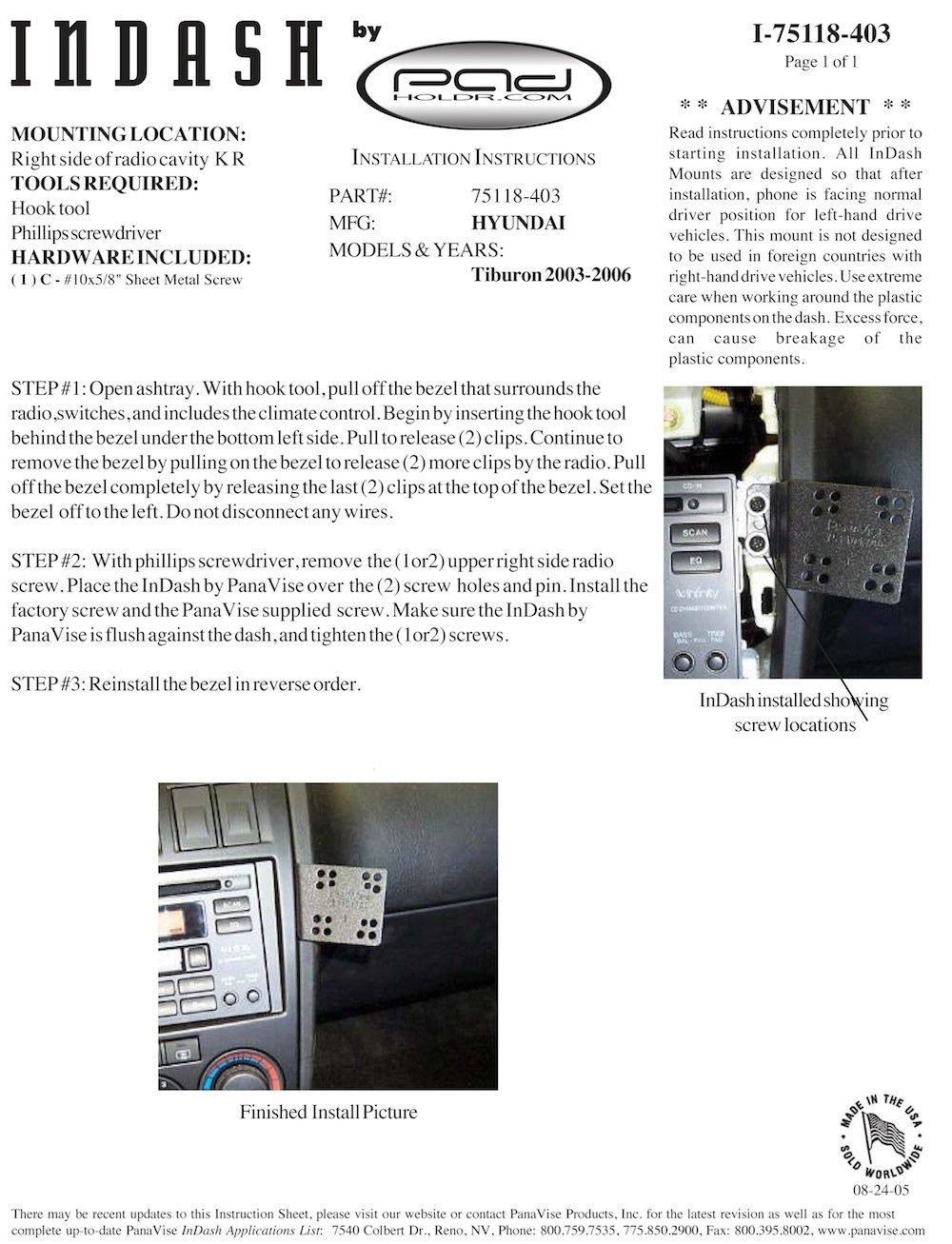 Padholdr Ram Lock Series Lock and Dock iPad Dash Kit for 2003-2006 Hyundai Tiburon Pad Holdr PHRLD3275118-403