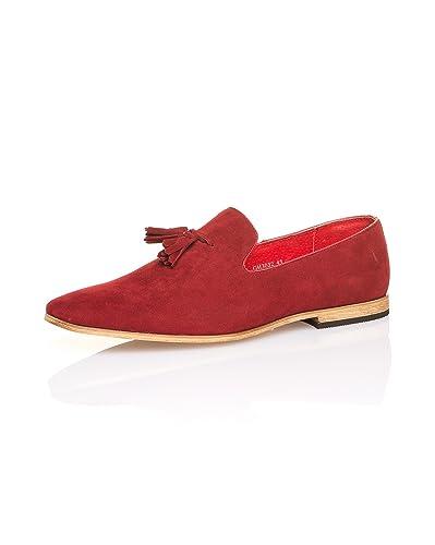 Rouge Couleur Chaussure Aspect Daim Homme Pour De Blz Jeans Ville shQrtd