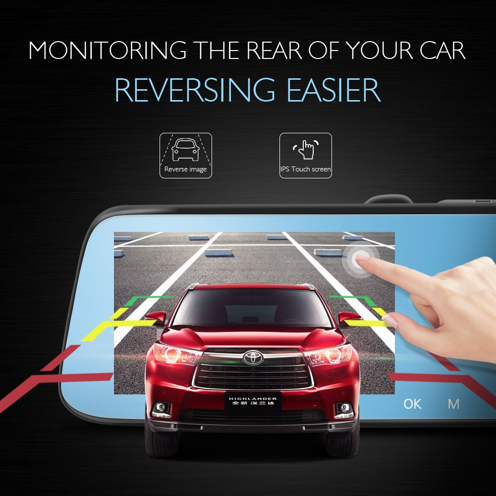 AKASO Mirror Dash Cam 1080P 5 Inch Touch Screen Dash Camera Front and Rear Dashcam with G-Sensor, Night Vision, Reversing Camera, Parking Monitor by AKASO (Image #2)