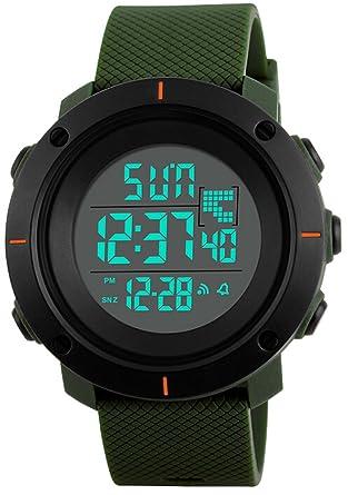 Relojes de pulsera para hombre, impermeable, alarma de natación, cronómetro, deporte, podómetro, calorías, reloj digital deportivo: skmei: Amazon.es: ...