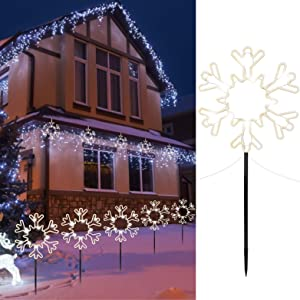 "8.5"" Christmas Pathway Stake Lights Outdoor 5 Pack 8 Feet 60 LED Fairy Lights Battery Operated Waterproof Snowflake Landscape Lights for Xmas Indoor Party Decorations, Pure White"