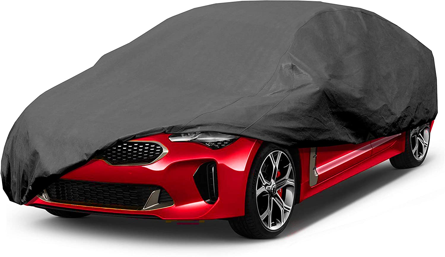 Leader Accessories Premium Car Cover 100% Waterproof Fit Car's Length Up to 228'' Breathable Outdoor Indoor Black Sedan Cover