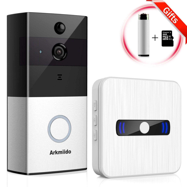 Arkmiido WiFi Wireless Enabled Video Doorbell Camera [ 1 Battery Activatable ] + 1 Plug Waterproof Chime Indoor Receiver