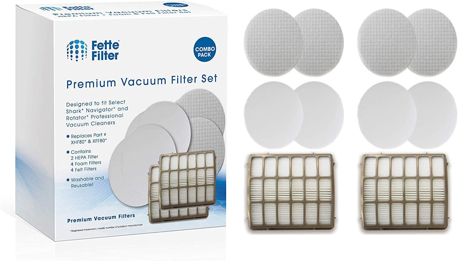 Fette Filter - Vacuum Filters Compatible with Shark Navigator Professional NV70, NV80, NV90, NV95, UV420 Vacuums. Compare to Part # XFF80 & XHF80. (2 Hepa 4 Foam)