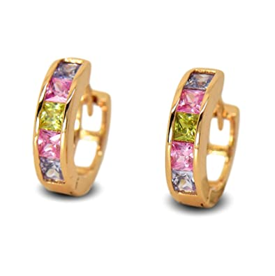 1efab1311bb70 Blue Diamond Club - 18ct Gold Filled Womens Small Hoop Earrings with Multi  Colour CZ Crystals 18K