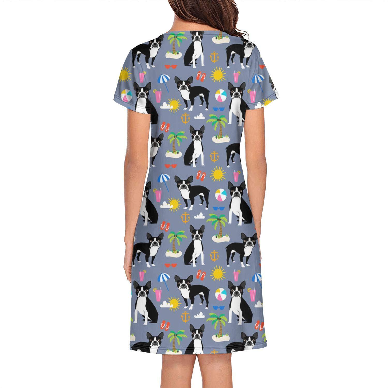 Unicorns Farting Short Sleeve Nightgowns Womens Boston Terrier Dogs Cactus Sleep Dress