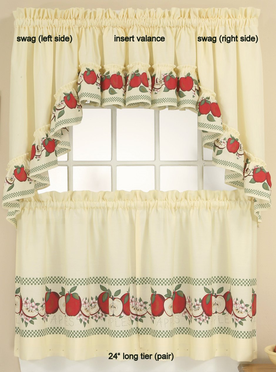Amazon.com: Red Delicious   Swag Top (pr) Kitchen Curtain: Home U0026 Kitchen