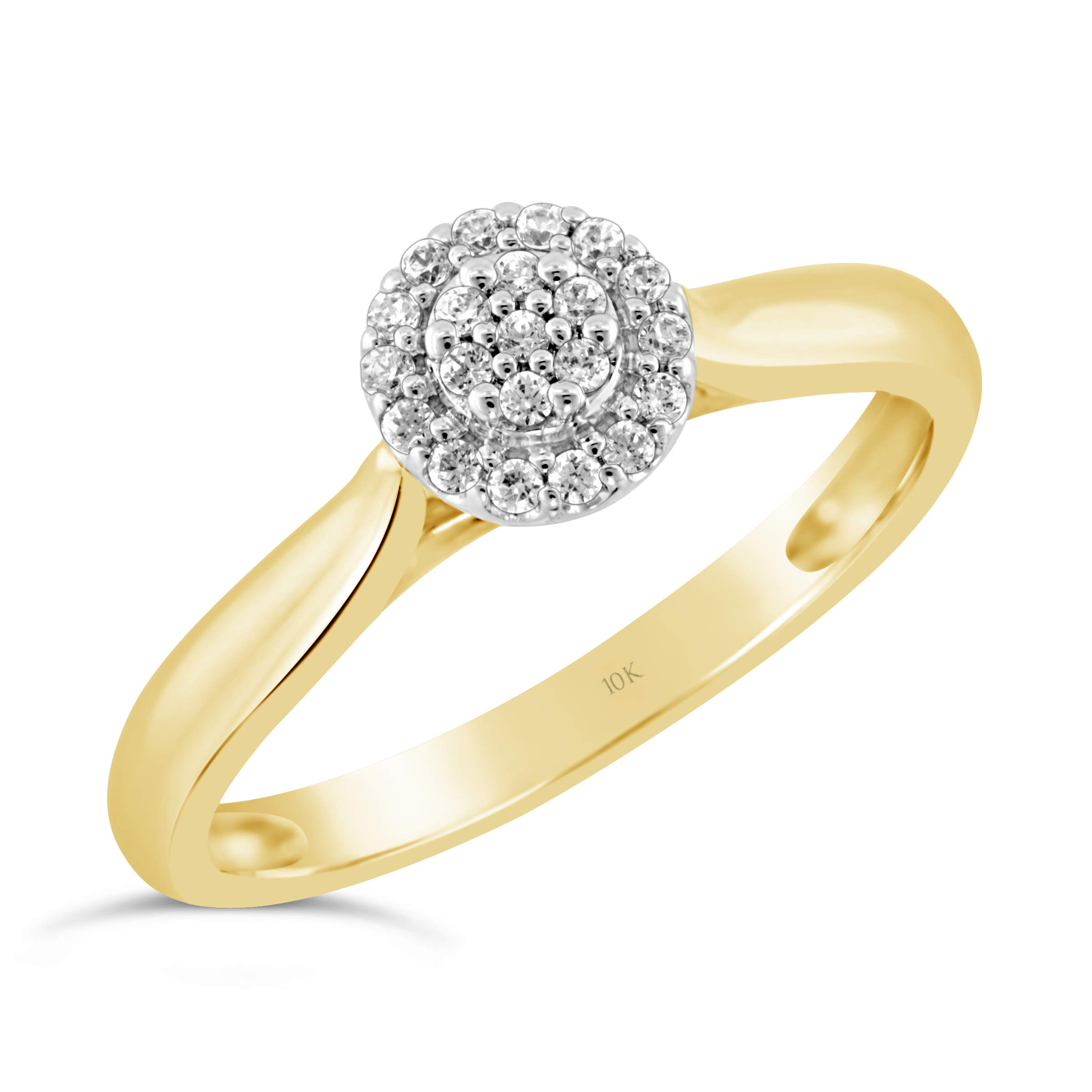 Brilliant Expressions 10K Yellow and White Gold 1/10 Cttw Conflict Free Diamond Round Halo Cluster Engagement Ring (I-J Color, I2-I3 Clarity), Size 7
