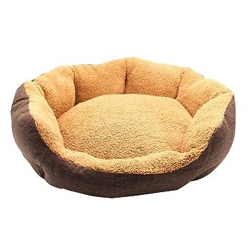 aiicioo redondo cama Gunny diseñado para verano de mascota Perro Gato Cama Rayas Masticar prueba tela Chocolate: Amazon.es: Productos para mascotas