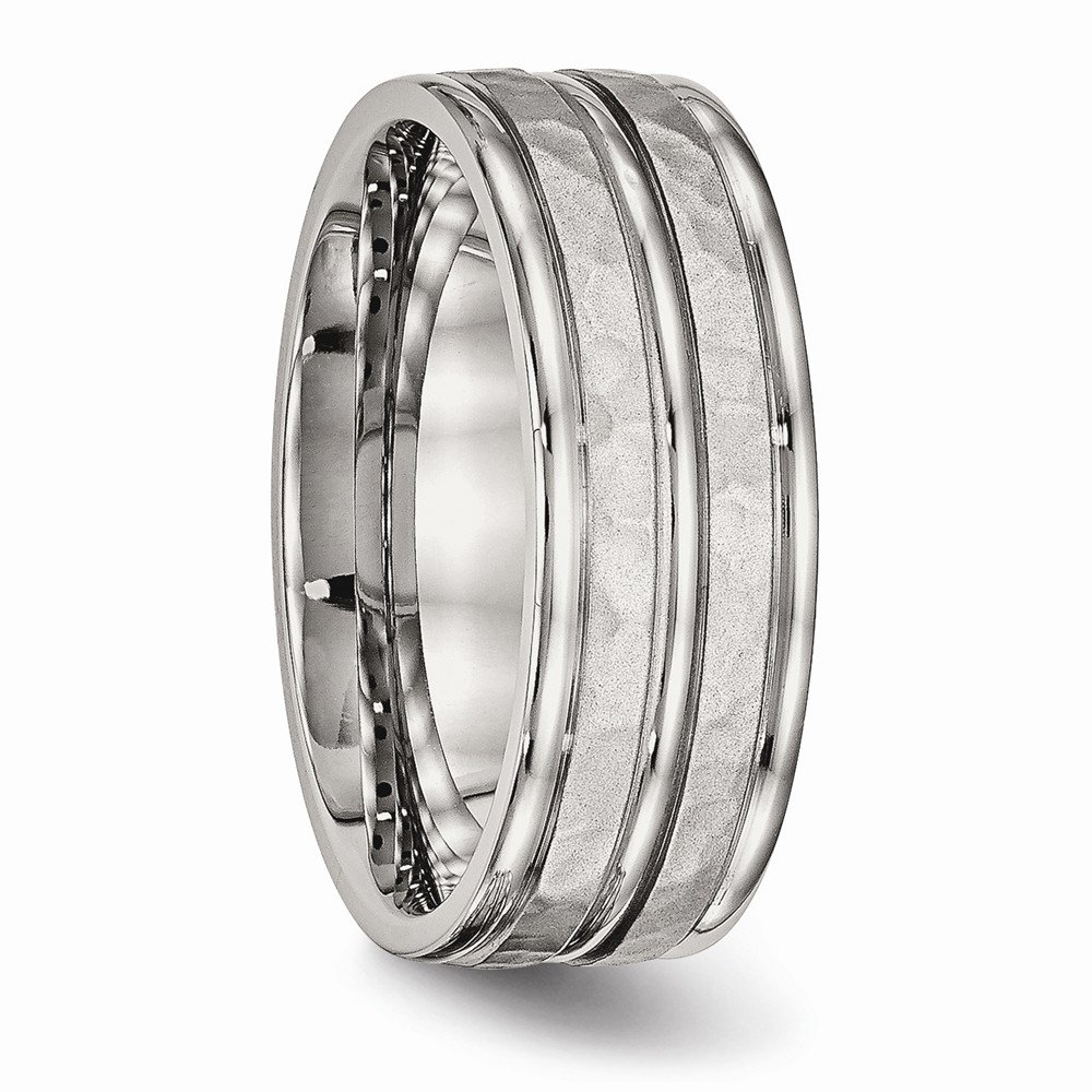 FB Jewels Solid Stainless Steel Polished Hammered And Grooved 8.00mm Wedding Band