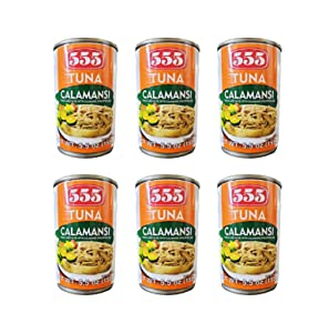 555 Tuna Calamansi Tuna Flakes in Oil with Calamansi (Philippine Lime) (6 Pack, Total of 33oz)