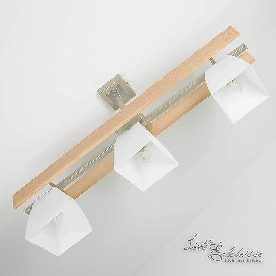 Elegante Lámpara de techo en Haya Blanco Bauhaus Diseño 3x E27 ...