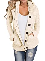 Makkrom Women's Classic Six Button Cable Hooded Knit Outwear Sweater Cardigan
