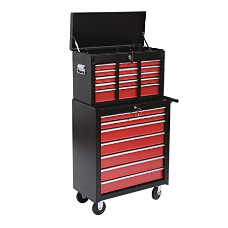 Amazon.com: HomCom Garage Rolling Tool Chest Cabinet with 16 ...