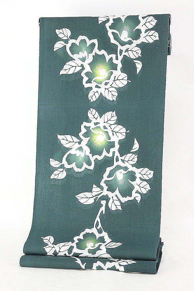 女物浴衣 反物生地 教材用 手洗いOK 別誂え 別注  9.濃緑×白×黄(花) B01LP9VL5W