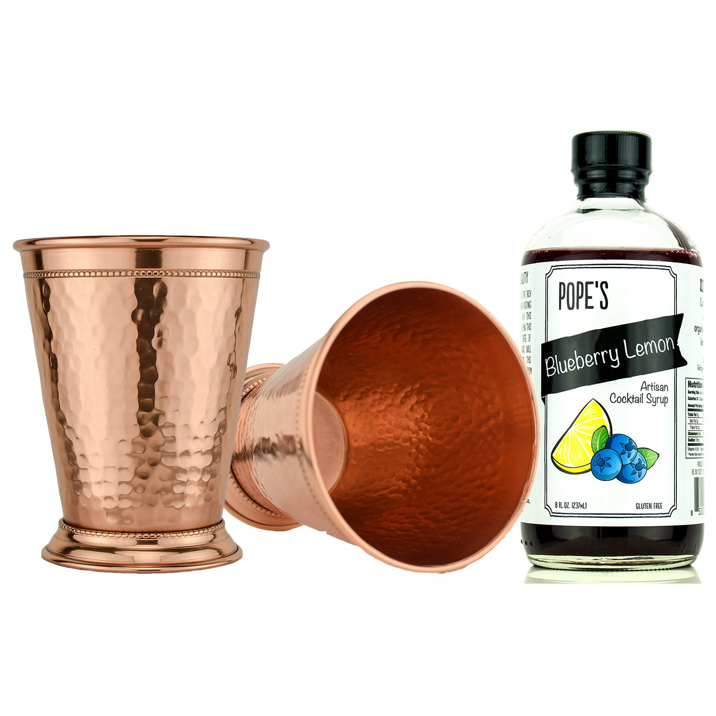 Hammered Copper Julep Cocktail Gift Set ~ Blueberry Lemon ~