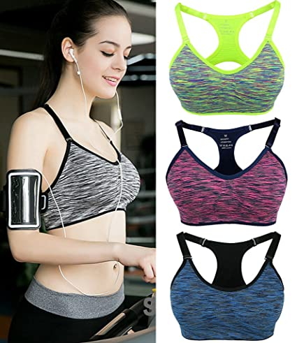 2a9e1539f66d8 FOCUSSEXY Women s Workout Fitness Yoga Bra Wireless Sports Bra Removable  Pads