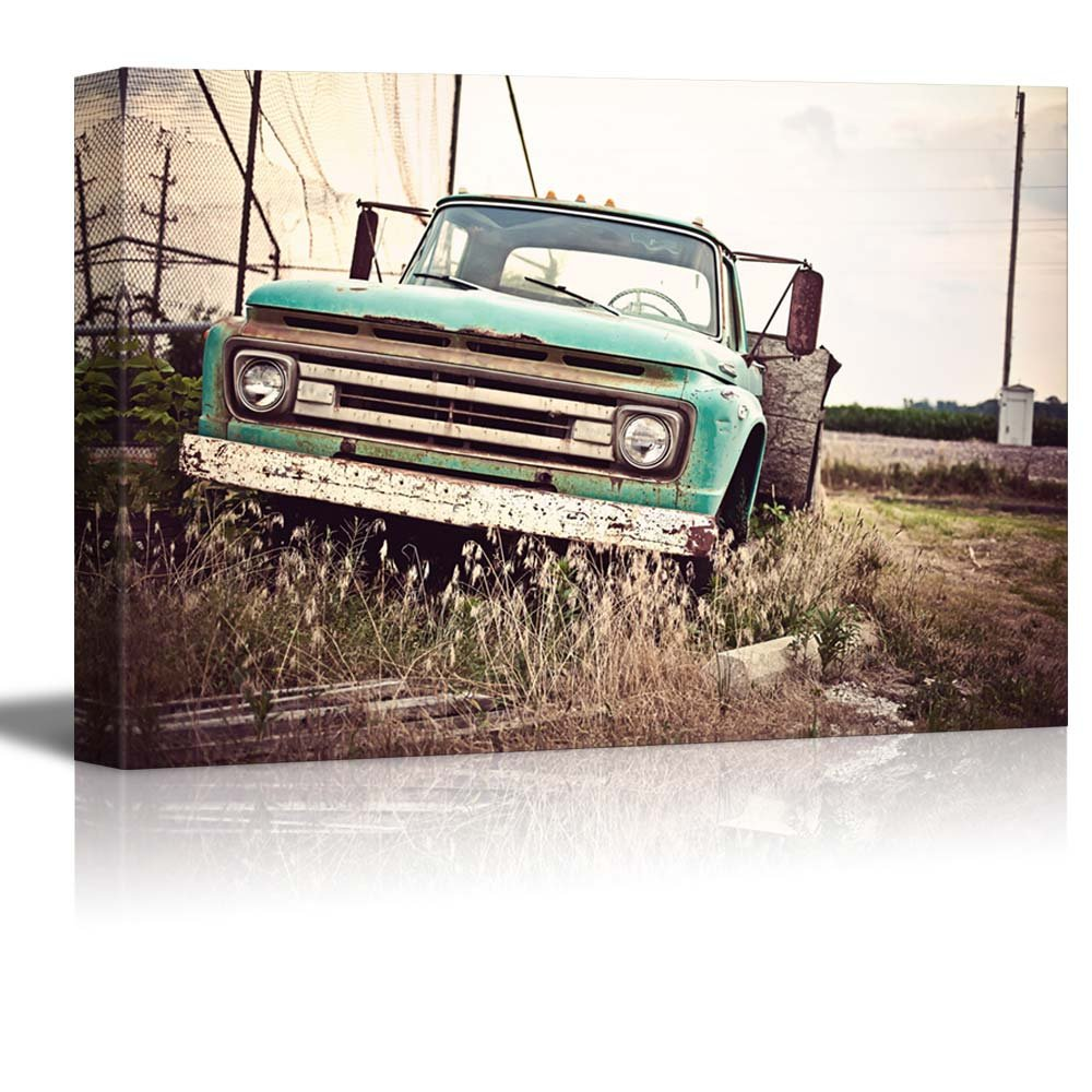 Old Rusty Car Along Historic Us Route 66 Wall Decor Ation Canvas